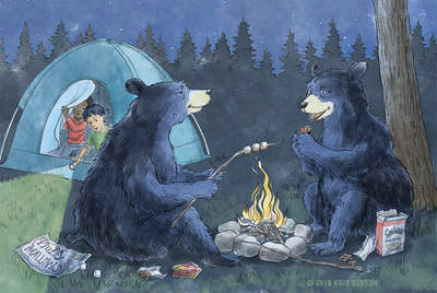 Two bears make s'mores by the campfire while camping boys watch from the tent.