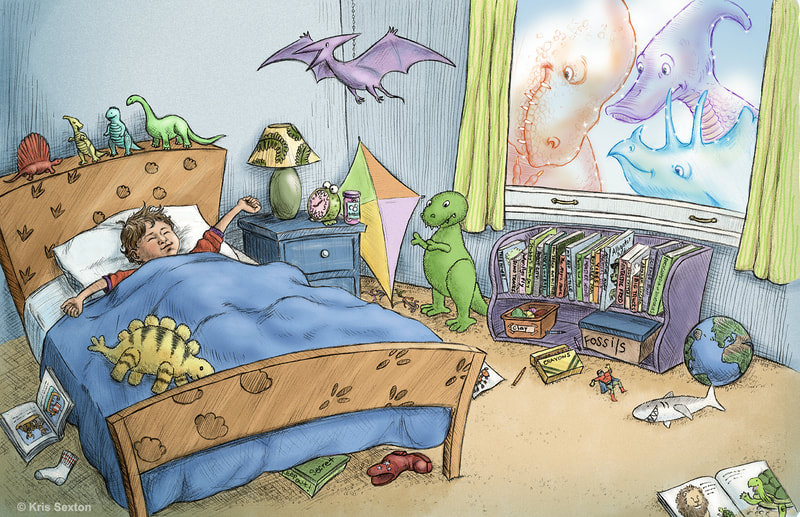 A boy wakes up in his dinosaur-themed bedroom as three dinosaurs watch through the window.