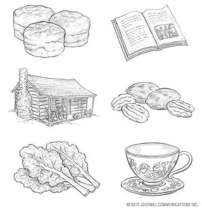 pencil drawing of biscuits, an open book, a cabin, pecans, kale, and a cup and saucer