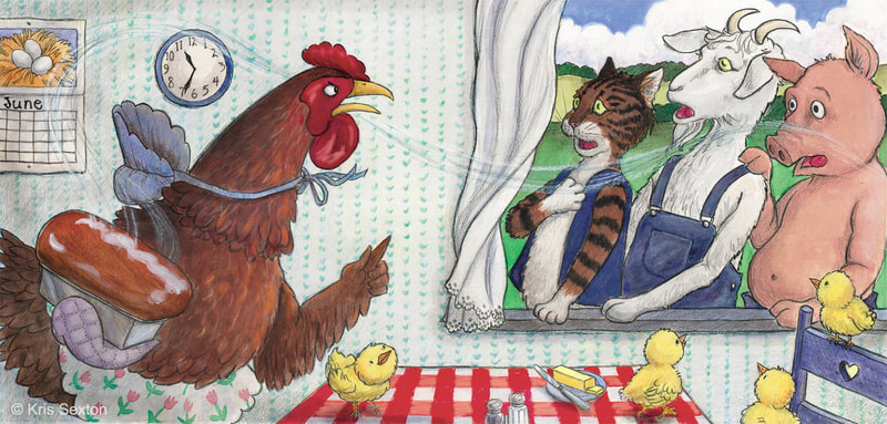 "Little Red Hen in her kitchen: after not helping with any work, the Cat, Pig, and Goat think they are going to help eat the bread, but the Little Red Hen says ""No, you won't!"""