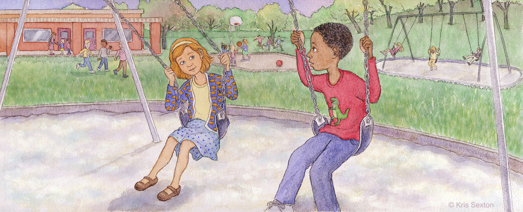 Friends: girl and boy on the school playground, sitting on swings and chatting.