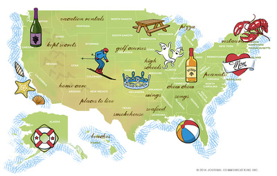 illustrated map of US with state attractions